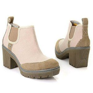 CAT Chunky Heeled Canvas Ankle Boots Sz 7